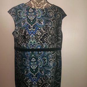 Chico's dress size 16 3 paisley black gray green